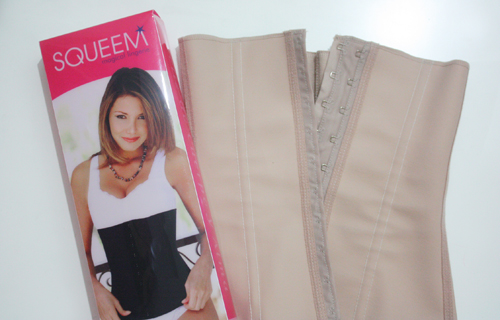 Squeem Review Perfect Waist Trainer in nude with packaging included iphone pic