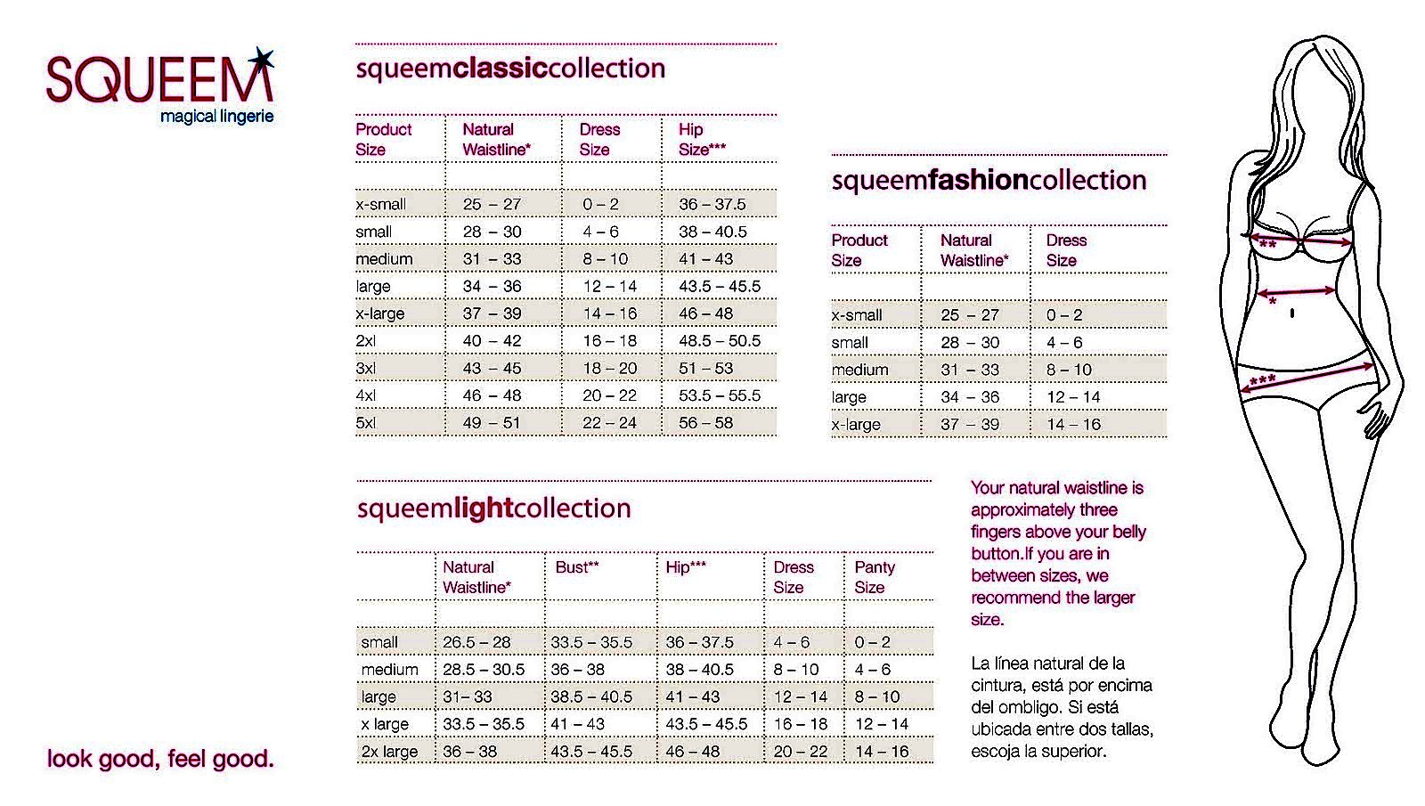 Squeem sizing chart with detailed measuements